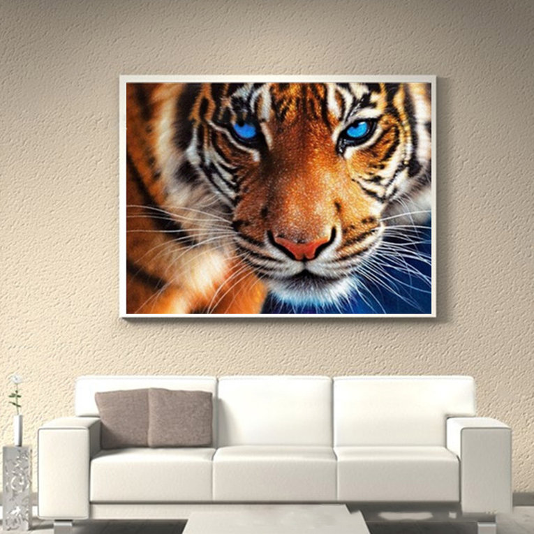 30*35CM Tiger Pattern Embroidery DIY Needlework Full Diamonds Plated Cross Stitch 5D Paintings Decorative Painting