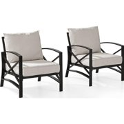 2 Piece Kaplan Outdoor Seating Set with Oatmeal Cushion - Two Kaplan Outdoor Chairs