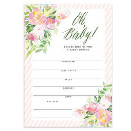 Oh Baby Shower Invitations Pretty Girl Flowers Fill In Style Blank Invites With Envelopes Pack Of 25 Large 5x7 Pink Border Floral Mom To Be