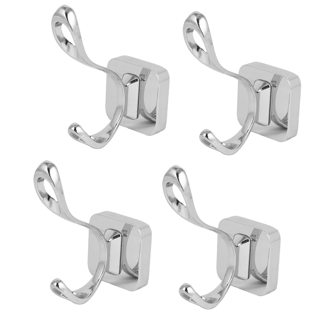 Unique Bargains Home Hotel Clothes Handbag Towel Wall Mount Hanger Double Hook 4pcs