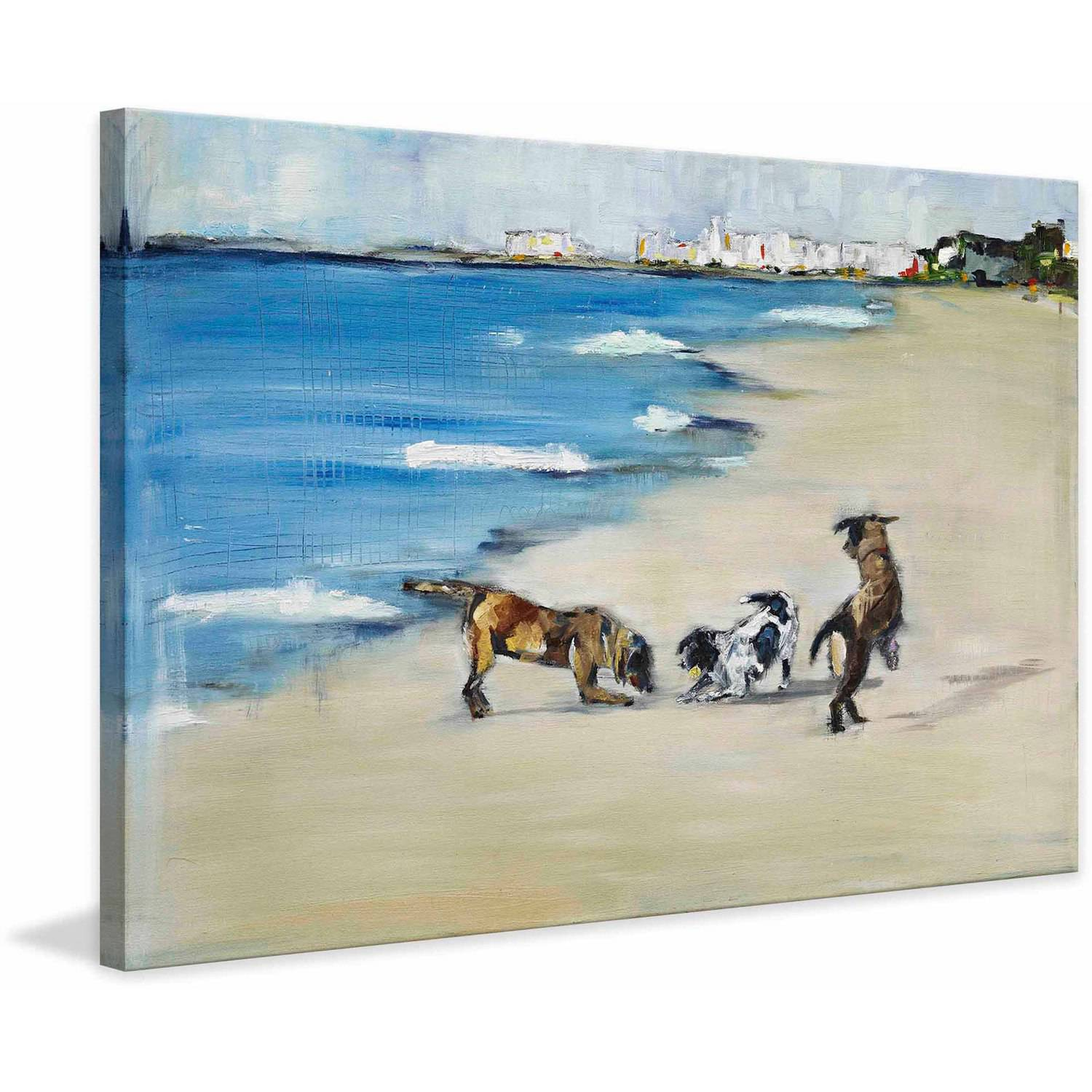 """Marmont Hill """"Dogs' Play"""" by Tori Campisi Painting Print on Canvas"""