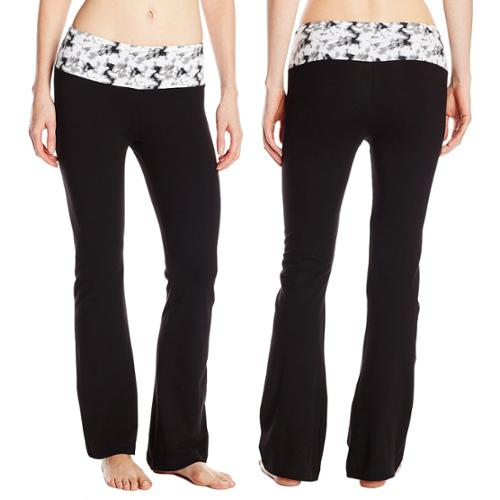 Women's Steve Madden Wide Leg Stretch Cotton Yoga Pants Black ...