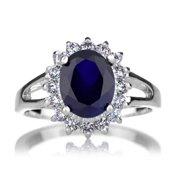 Emitations Brass Blue CZ Royal Style Engagement Ring
