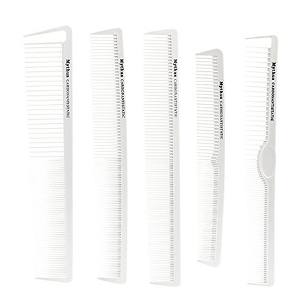 Mythus 10Pc Carbon Haircut Comb Kit White Color Professional Salon Hairdressing Comb Antistatic Heat Resistant - image 3 of 4