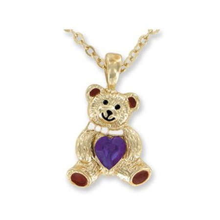 Teddy bear birthstone necklace february faux amethyst by for Jewelry stores in bear delaware