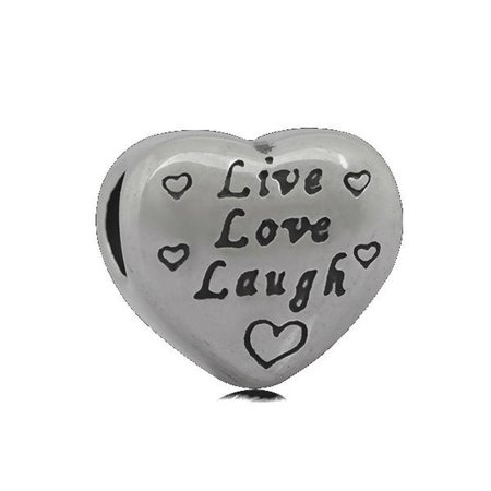 Stainless Heart Shaped Live Love Laugh Charm Bead Fits Pandora Style Charm