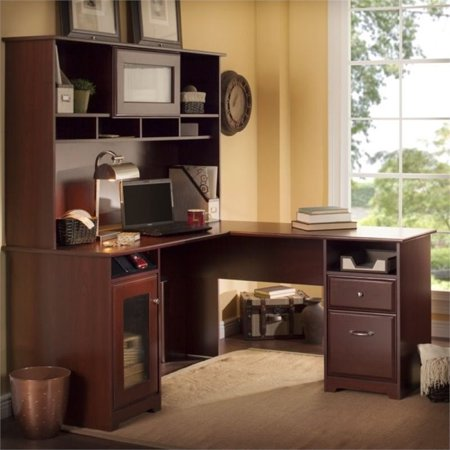"Bush Cabot 60"" L Shape Computer Desk with Hutch in Harvest Cherry"