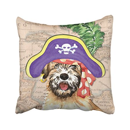 WinHome Cute Vintage Popular Happy Halloween Watercolor Dog Pirate And Map Polyester 18 x 18 Inch Square Throw Pillow Covers With Hidden Zipper Home Sofa Cushion Decorative Pillowcases - Halloween Map Open