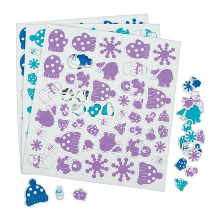 Fun Express - Winter Wonderland Adhesive Foam Shapes for Christmas - Craft Supplies - Foam Shapes - Regular - Christmas - 500 Pieces
