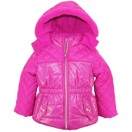 Pink Platinum Little Girls Quilted Hooded Winter Bubble Puffer Jacket Coat