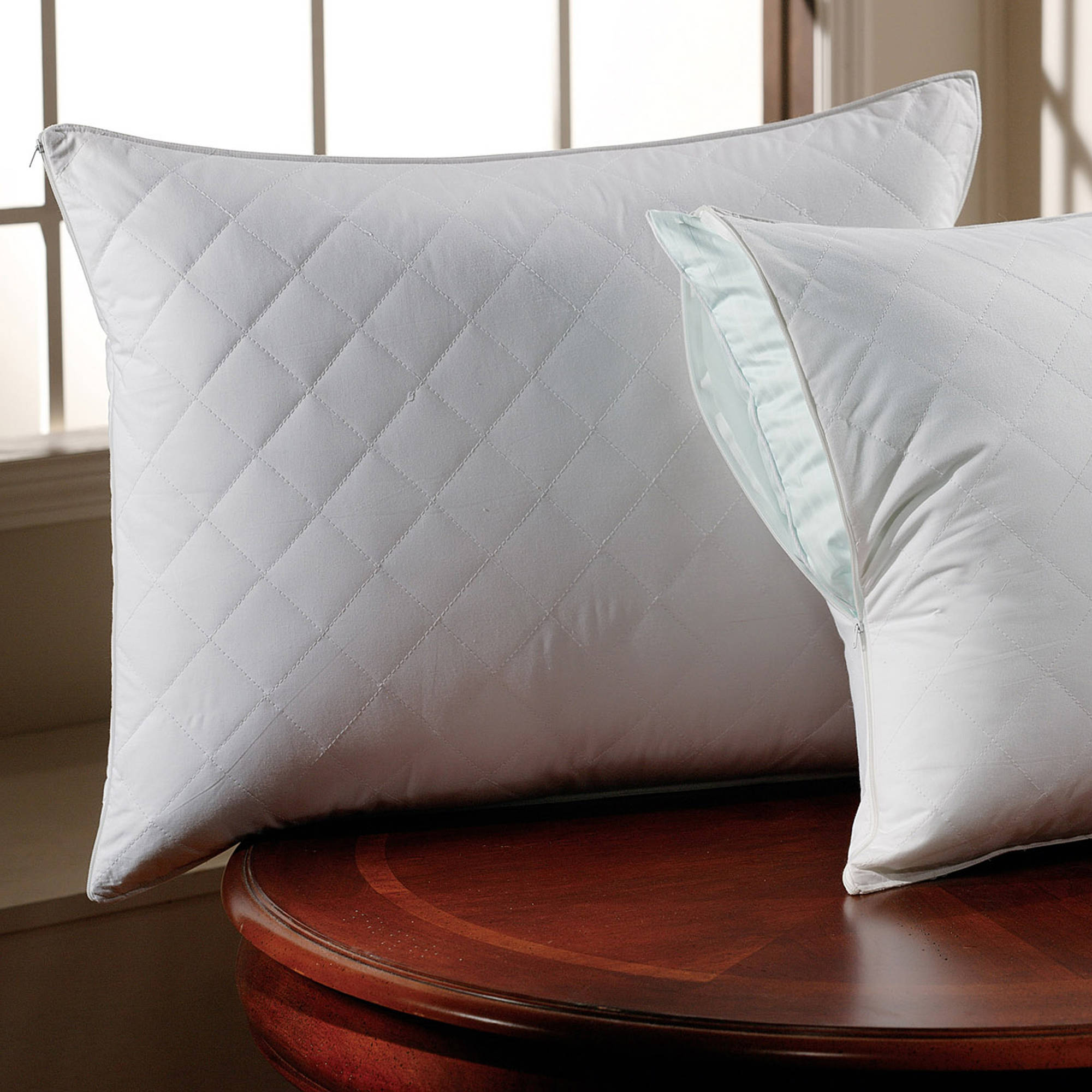 300 Thread Count Cotton Sateen Quilted Pillow Protector by Downlite