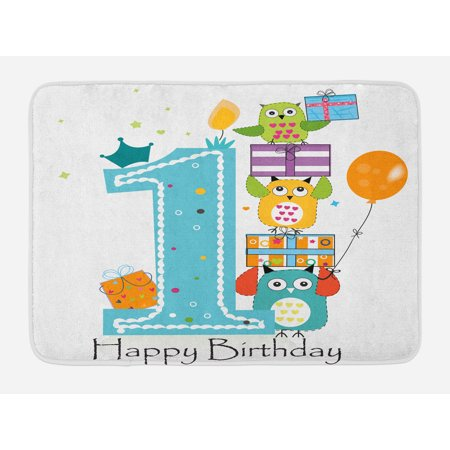 1st Birthday Bath Mat, First Cake with Candle Owls Family with Box Party Theme Print, Non-Slip Plush Mat Bathroom Kitchen Laundry Room Decor, 29.5 X 17.5 Inches, Sky Blue Orange and Green, Ambesonne (Owl Themed Classroom)