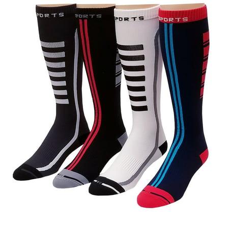 46ebf129db 4 Pairs Pack Men, Women Sports ,Travelers , Athletes Arch Support  Compression Knee High Socks 10-13 #413 - Walmart.com