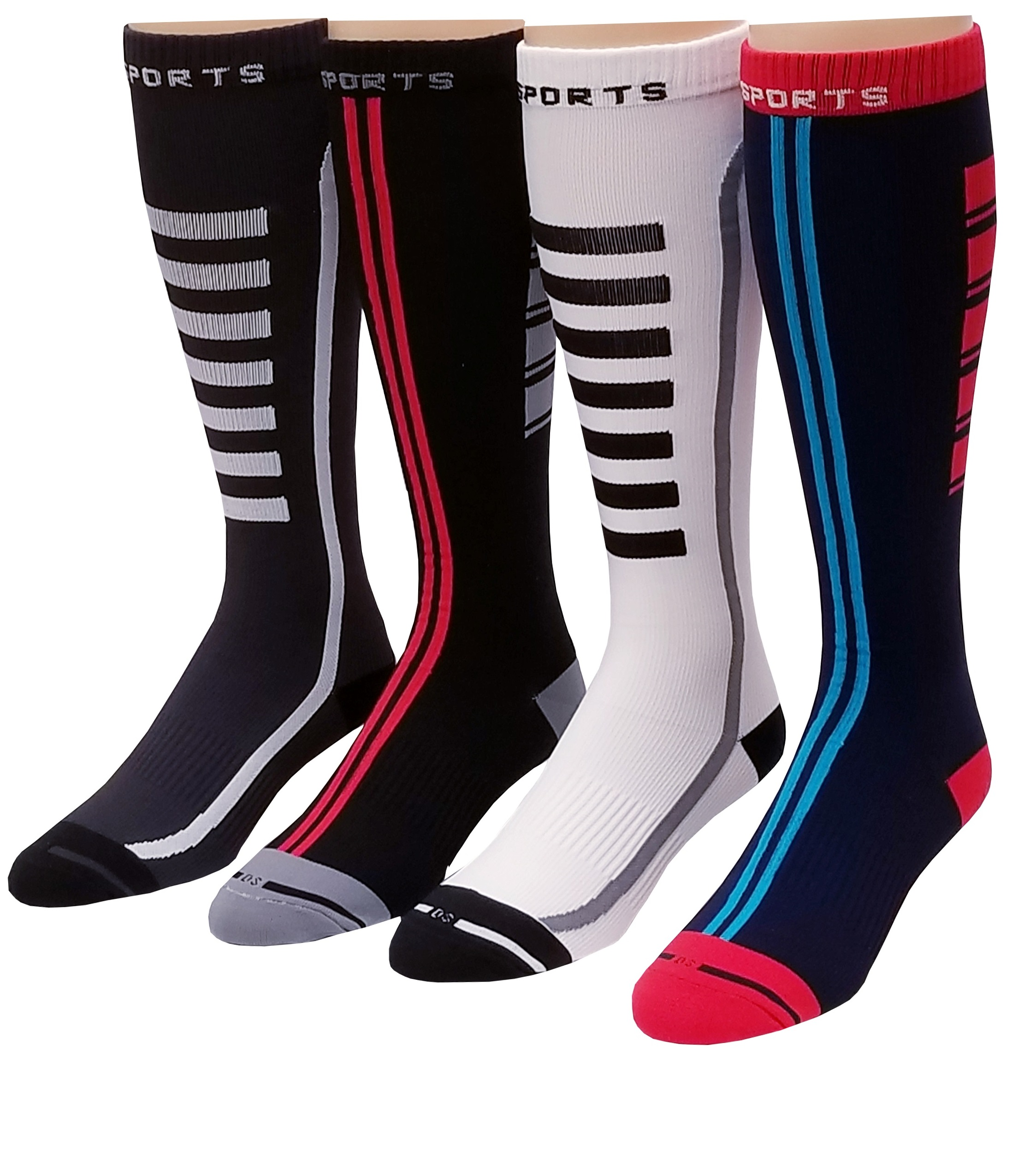 4 Pairs Pack Men, Women Sports ,Travelers , Athletes Arch Support Compression Knee High Socks 10-13 #413