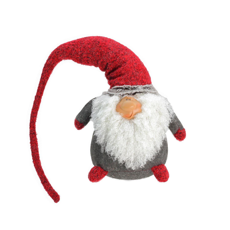 "27.5"" Plush Red and Gray Nordic Santa Christmas Gnome Tabletop Figure"