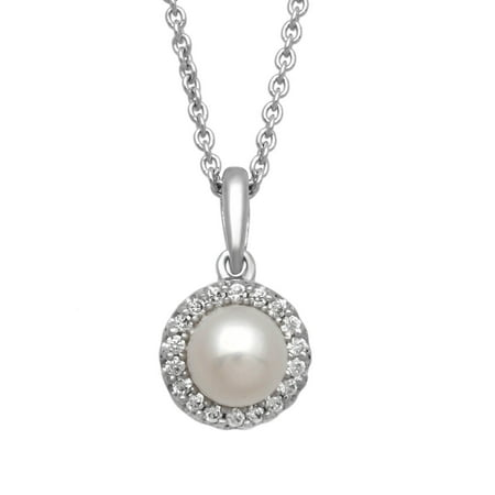 Fresh Water Pearl and White CZ Sterling Silver Cushion-Framed Pendant, (Pearl June Birthstone Pendant)