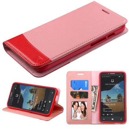 Insten Flip Leather Wallet Case Cover with Stand & Card slot For Alcatel One Touch Fierce XL - Pink/Red - image 5 de 5