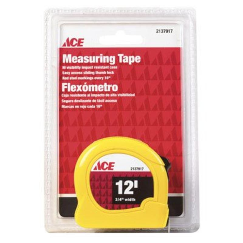 12' Measuring Tape - Yellow Ace Tape Measures and Tape Rules 2137917A