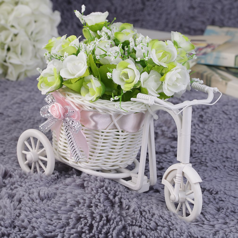 BowKnot Rattan Tricycle Bike Basket Party Wedding Decor Gift Home Decor
