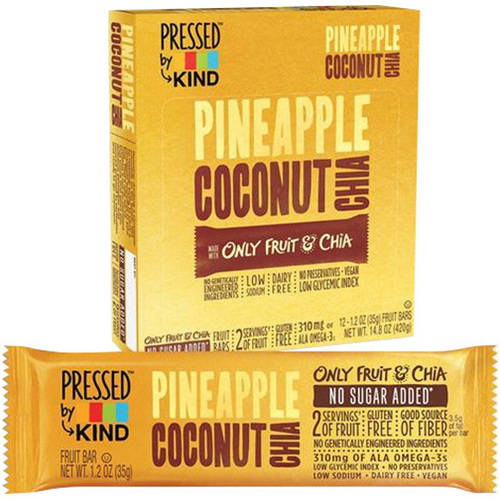 Pressed by Kind Pineapple Coconut Chia Fruit Bar, 1.2 oz, 4 pack, (Pack of 6)