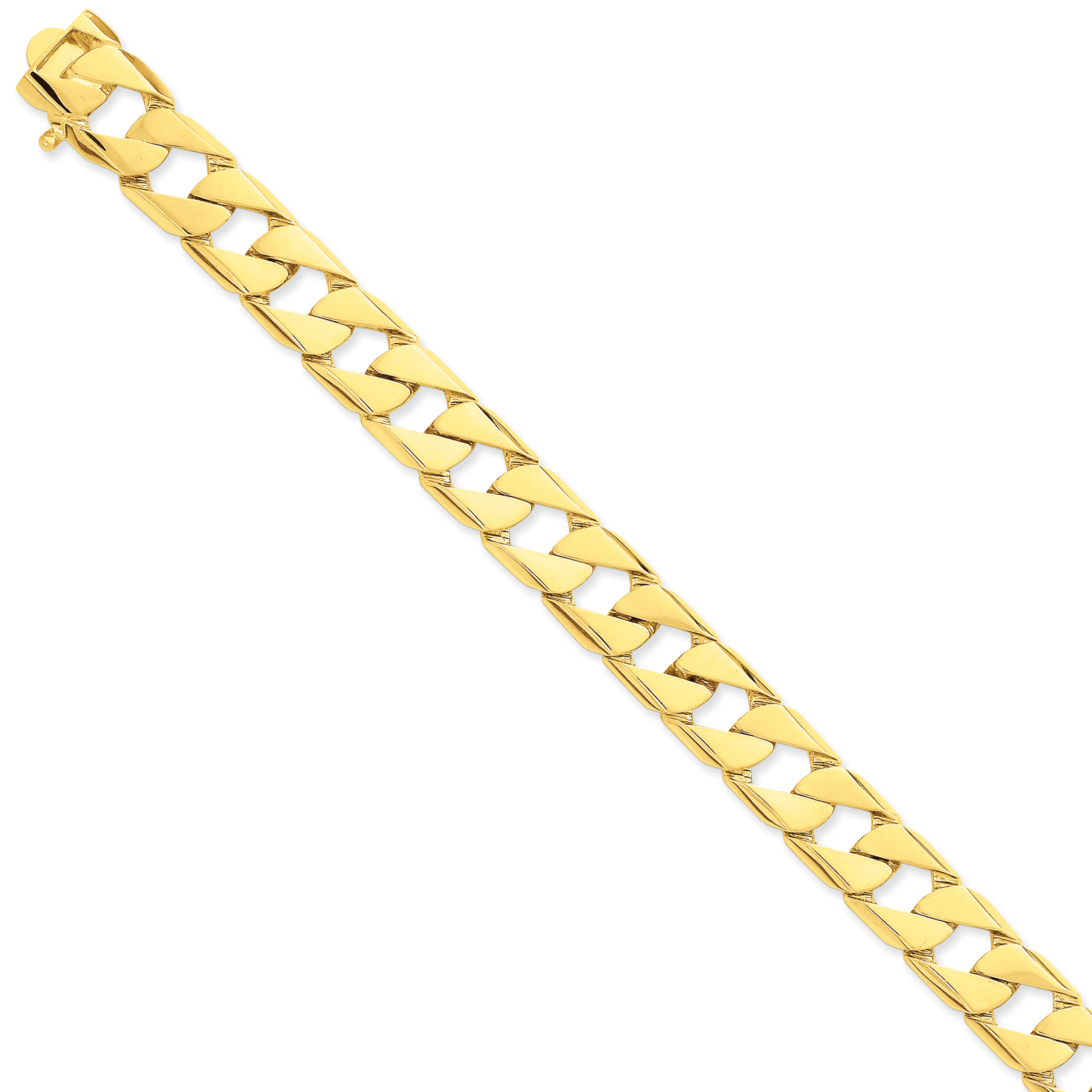 Roy Rose Jewelry 14K Yellow Gold 12mm Hand-polished Fancy Link Chain Bracelet ~ Length 8'' inches by
