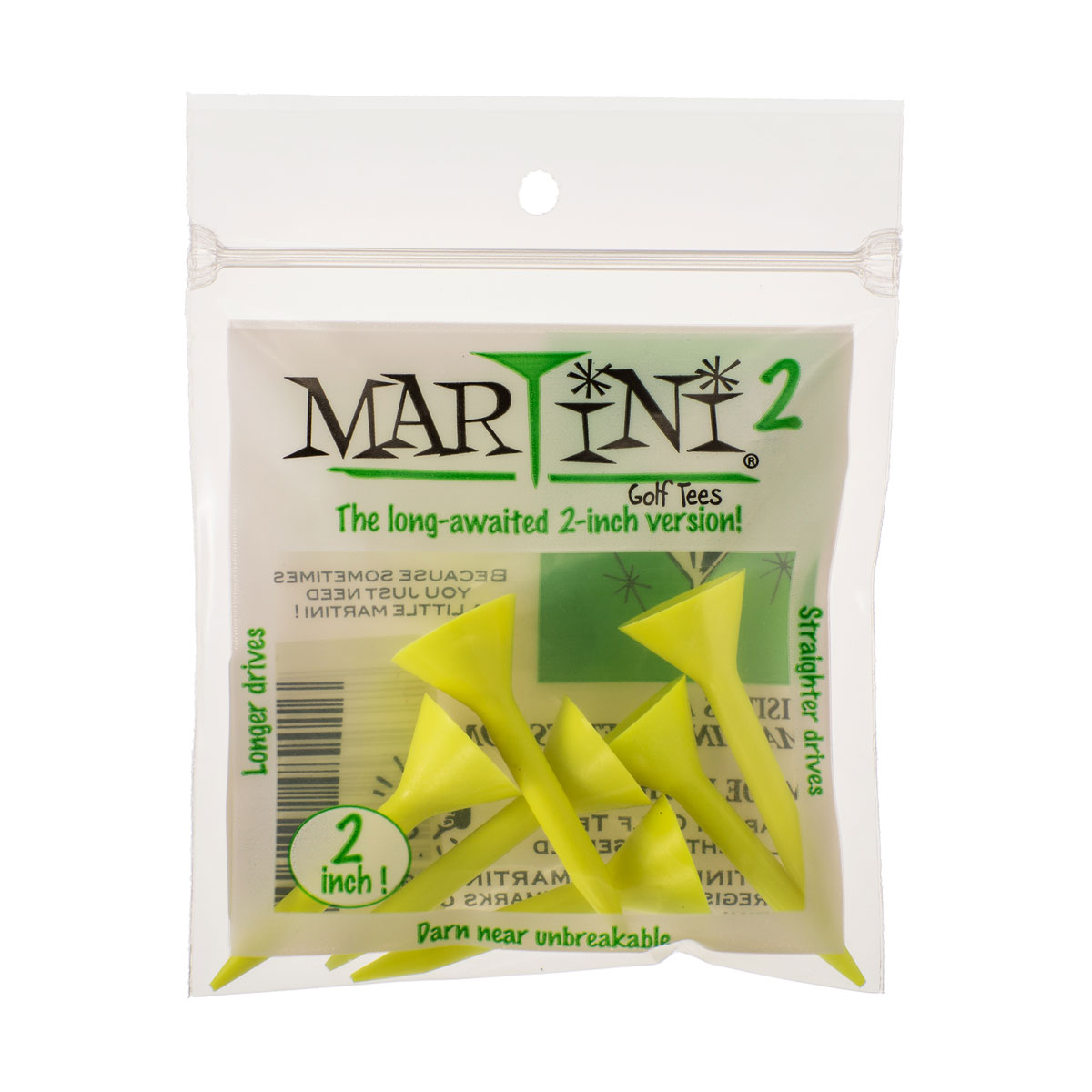 """Martini 2"""" Tees Yellow Pack of 5"""