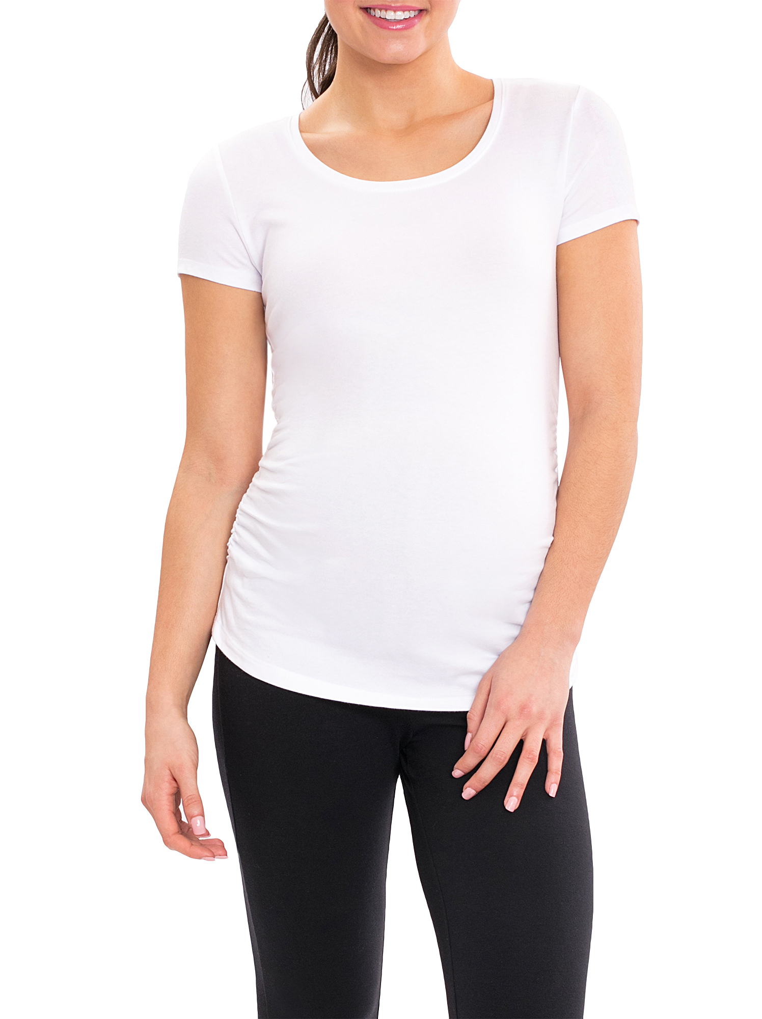 Maternity Short Sleeve Tee with Side Ruching
