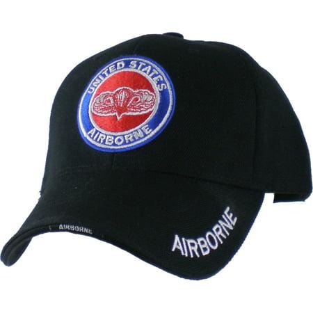 US Honor United States Airborne Wings Logo Round Emblem Mens Cap [Black -
