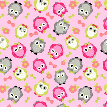 Stitched Owl Pink Anti Pill Polyester Fleece Fabric By The