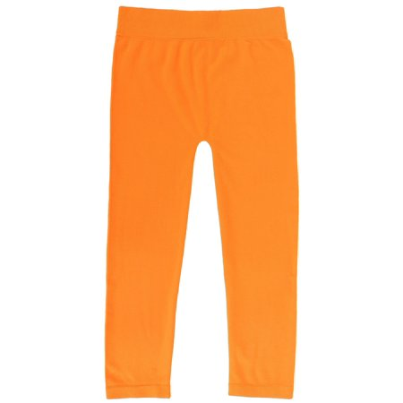 Simplicity Kid's Cropped Seamless Leggings Stretch Waist, Orange SM ()