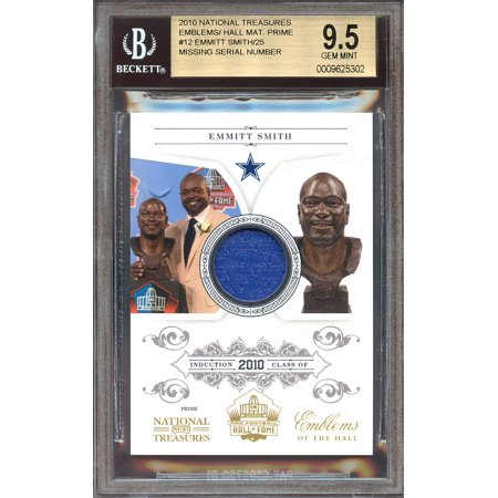 2010 national treasures emblems/hall mat prime #12 EMMITT SMITH jersey BGS 9.5