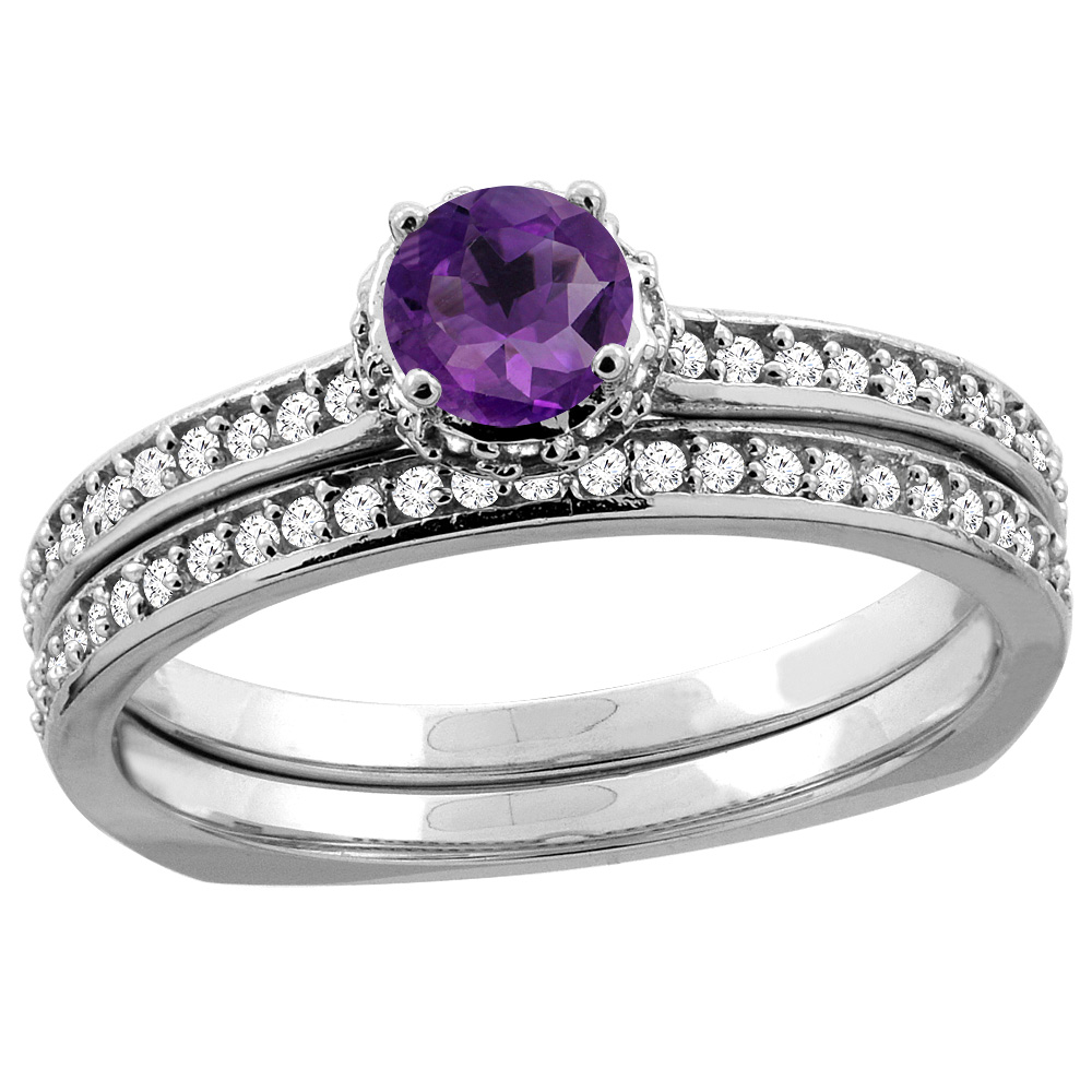 10K White Gold Diamond Natural Amethyst 2-pc Bridal Ring Set Round 4mm, sizes 5 10 by WorldJewels