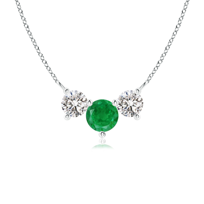 May Birthstone Pendant Necklaces Trio Emerald and Diamond Necklace Past Present Future in 950 Platinum (5mm Emerald)... by Angara.com