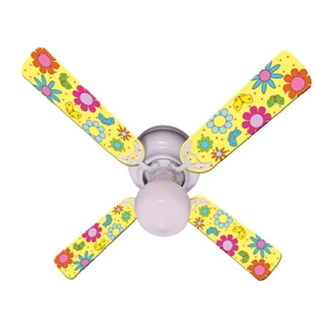 Ceiling Fan Designers 42FAN-IMA-FPBY Flower Power Butterflies Yellow Ceiling Fan 42 inch