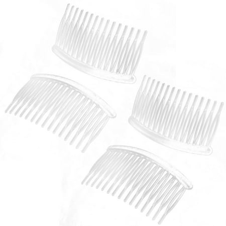 Women Lady Plastic 15 Teeth Hair Comb Clip DIY Material Accessories Clear 4 Pcs ()