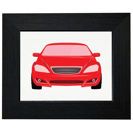 Red Race Car Unique Front View Silhouette Graphic Framed Print ...