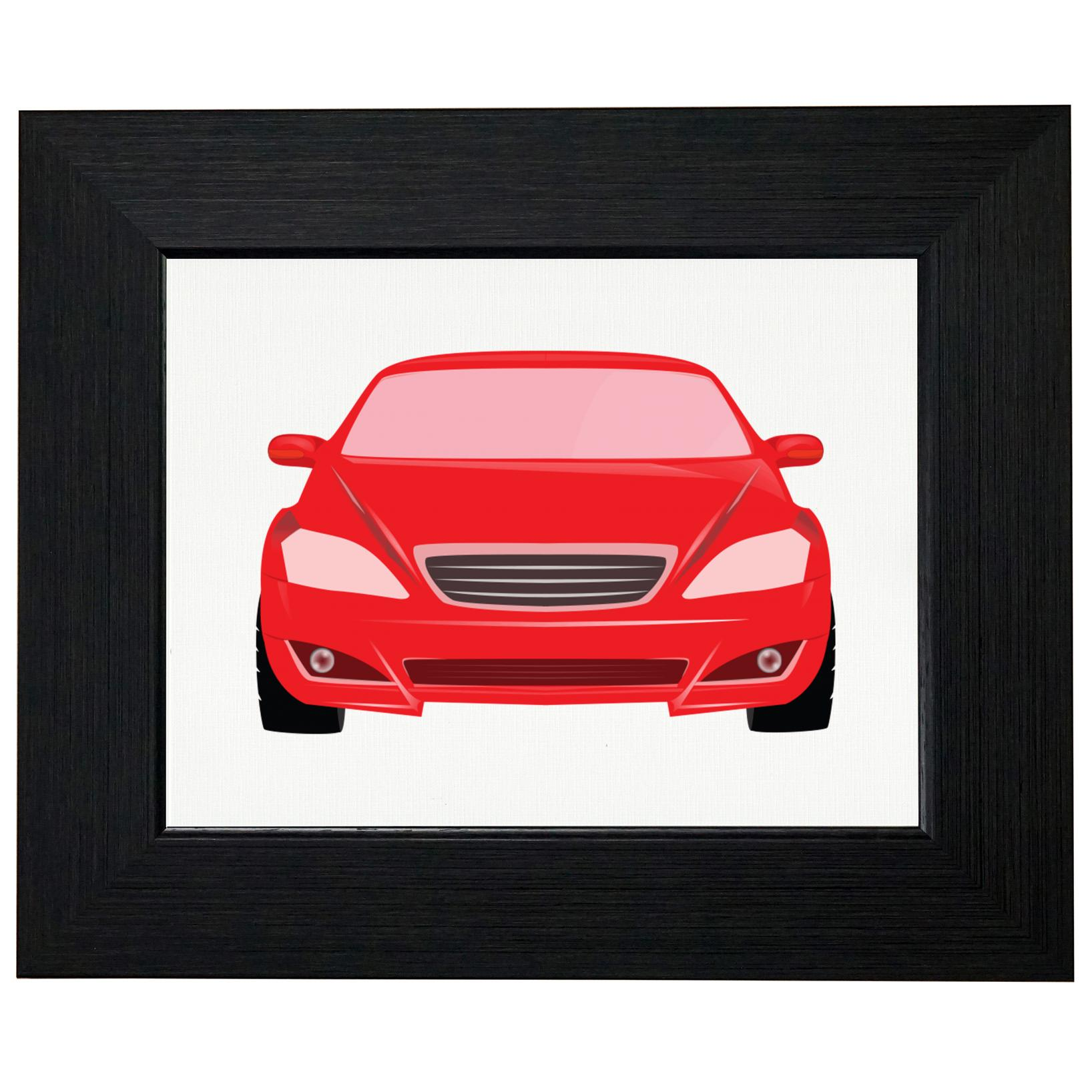 Red Race Car Unique Front View Silhouette Graphic Framed Print Poster Wall or Desk Mount Options