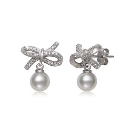 Cultured Freshwater Pearl and Cz Sterling Silver Bow Drop Earrings Baroque Pearl Drop Earrings