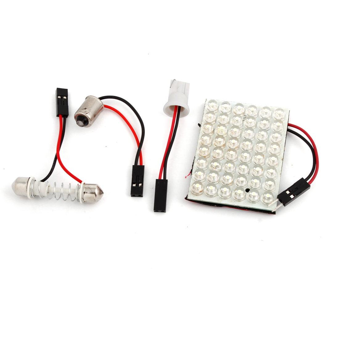 Car T10 BA9S Adapter 29-41mm Festoon Bulbs 48 LED White Internal Roof Light 12V