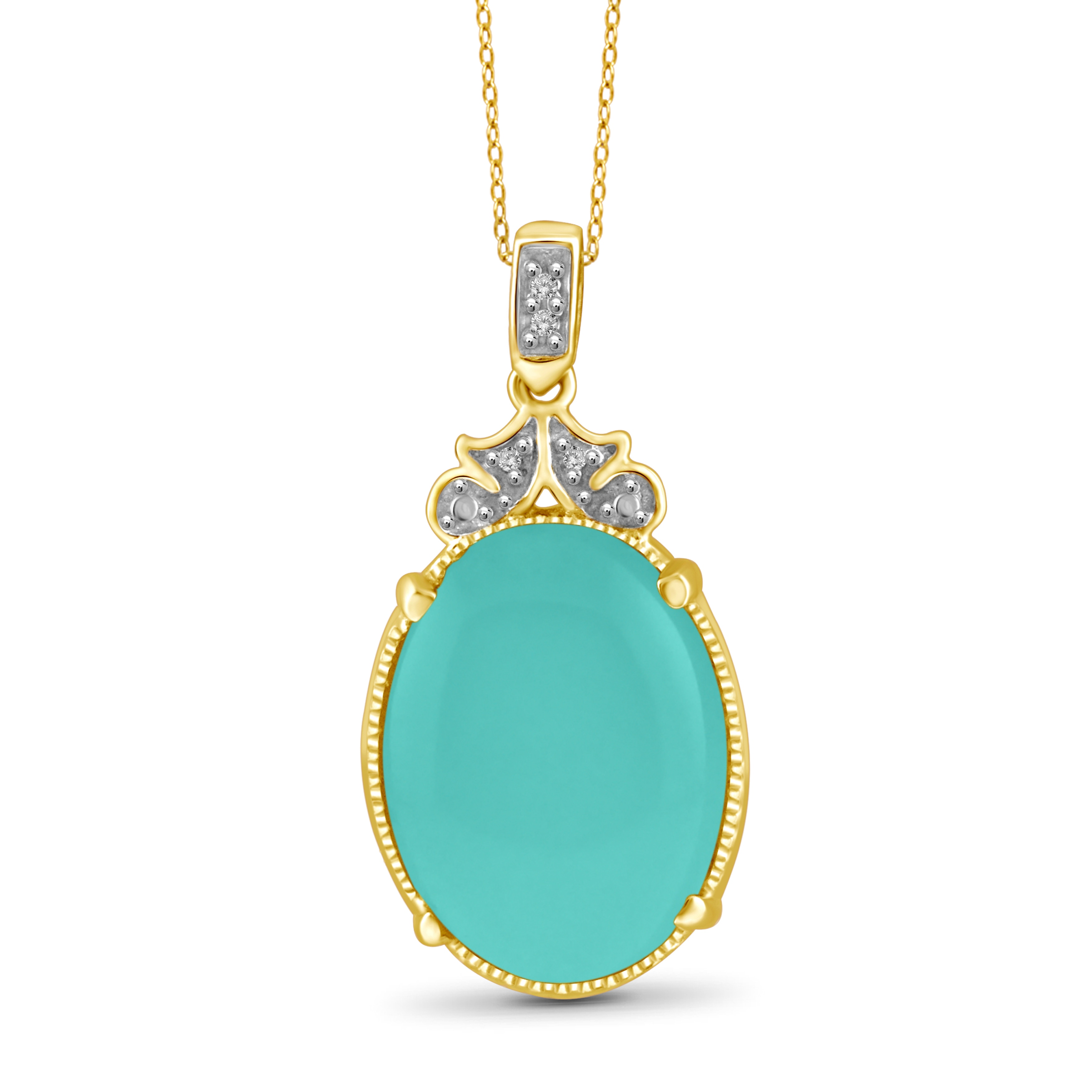 JewelonFire Sterling Silver Genuine Chalcedony Gemstone and White Diamond Accent Pendant by Overstock