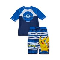 Pokémon Boys 4-16 UPF 50+ Short Sleeve Rash Guard Swim Shirt and Trunks, 2-Piece Set