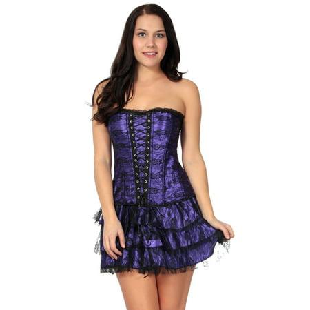 Top Skirt G-string - Simplicity Corset Skirt Cincher Lace Up Basque G-String Bustier Lingerie Dress