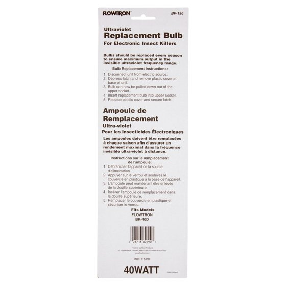 Flowtron Ultraviolet 40 Watt Replacement Bulb Walmart