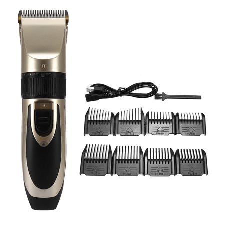 Cordless Rechargeable Beard Hair Trimmer Clipper Razor Shaver with 8 Combs Set Ceramic Blade for Men Baby Kids Home Haircut