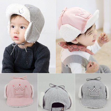 - Toddler Kids Girls Boys Knitted Warm Cap Baby Winter Earflap Cat Crochet Hat New