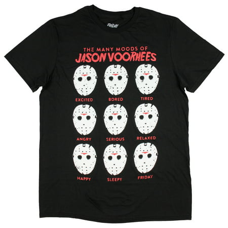 The Many Moods Of Jason Voorhees Mask Shirt Distressed Officially Licensed Horror Film Movie T-Shirt
