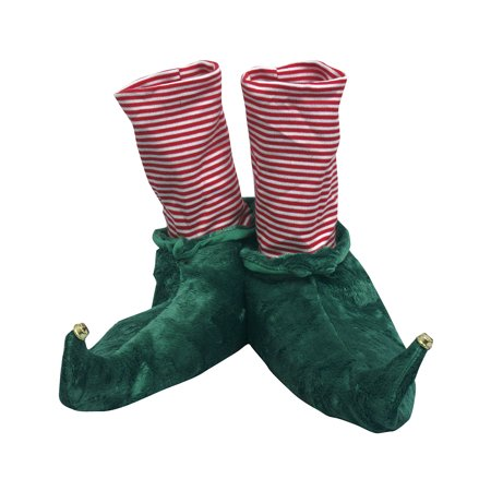 Elf Holiday Christmas Slippers - Jingle Bell Tips & Candy Cane - Candy Cane Candy Corn Elf