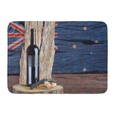 - GODPOK Alcohol Black Australia Bottle of Wine with Australian Flag in The Red Bar Antique Rug Doormat Bath Mat 23.6x15.7 inch