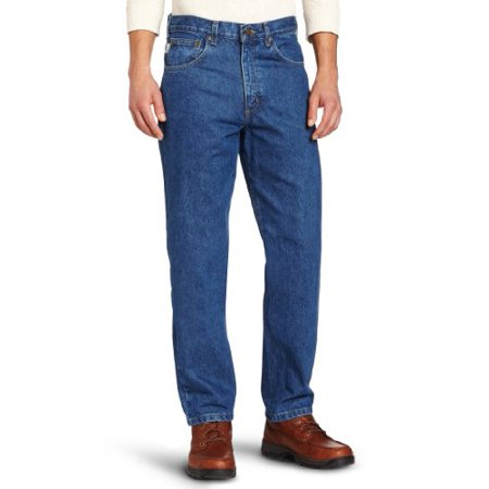 shades of best loved super specials Carhartt Men's Relaxed Fit Five Pocket Tapered Leg Jean B17,Darkstone,31 x  32