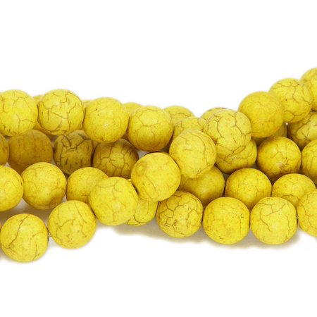14mm 16 inch strand Yellow howlite round beads Genuine Natural Gemstone Jewelry making Seed Beads 16 Inch Strand